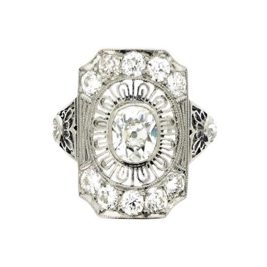 Edwardian style diamond cluster ring