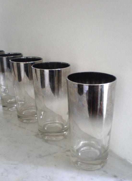 GREENZEBRE, VINTAGE SILVER FADE RIM GLASSES: set of 6 on etsy.