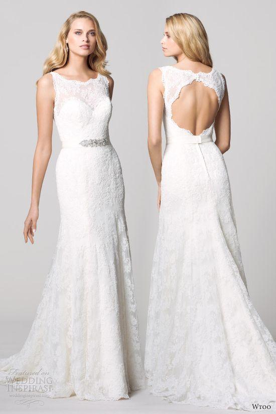 watters wtoo fall 2012 sleeveless lace sheath weding dress open back