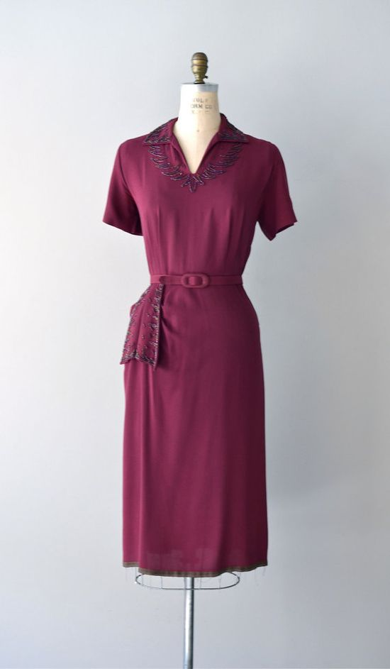 ~1940s rayon dress with beaded trim~