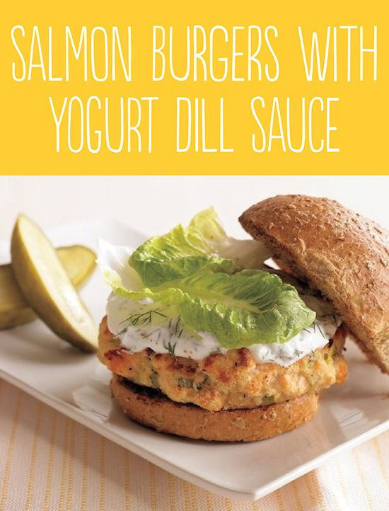 Tasty Hamburger Alternatives That Are Actually Good For You: Salmon Burgers with Yogurt Dill Sauce.