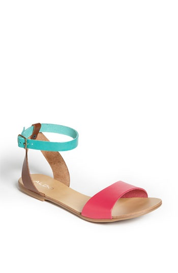 Colored sandals.