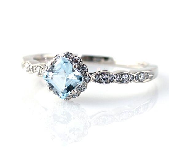 14K Asscher Aquamarine Diamond Engagement Ring Custom Bridal Jewelry. $995.00, via Etsy.