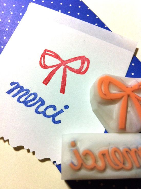 ribbon & merci hand carved rubber stamp handmade by talktothesun, $8.00