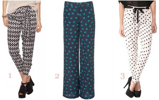 love all of these printed pants