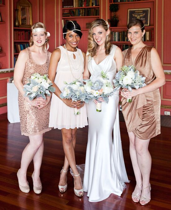 Glamorous mismatched gold bridesmaid dresses, just add some peachy coral.