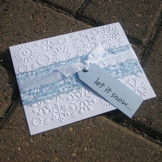 5 Handmade Christmas Cards - Snowflakes - let it snow.... $10.00, via Etsy.