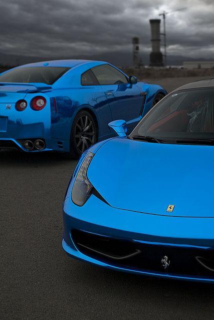 Blue Chrome Nissan GTR and Ferrari 458 Italia