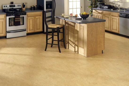 elegant kitchen cork flooring design ideas