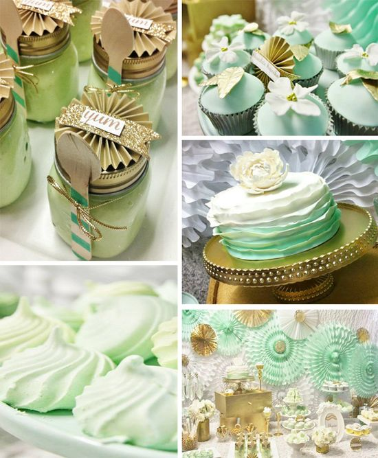 Mint and Gold Party with LOTS of REALLY CUTE IDEAS via Kara's Party Ideas