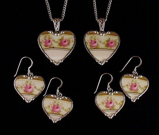 Custom Matching Broken China Jewelry  by dishfunctionldesigns