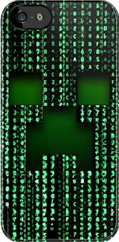 Minecraft creeper Face in Matrix apple iphone 5, iphone 4 4s, iPhone 3Gs, iPod Touch 4g case