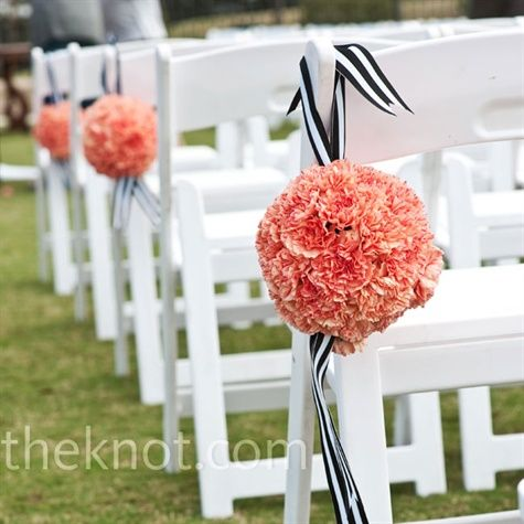 coral pomanders for an outdoor wedding
