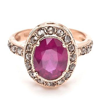 14k rose gold and rough-cut diamond ring with oval ruby center stone, Style 4026, Arik Kastan