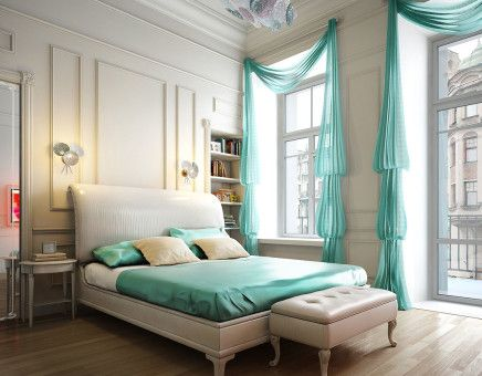 Spacious and bright bedroom decoration