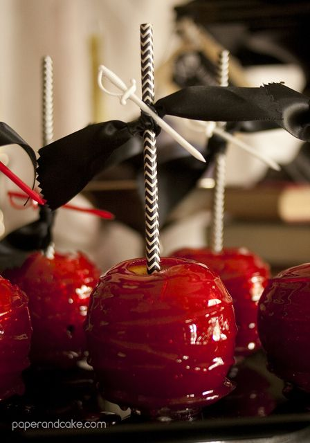 Candy apples at a Halloween Party.  See more party ideas at CatchMyParty.com.  #fhalloween #partyideas