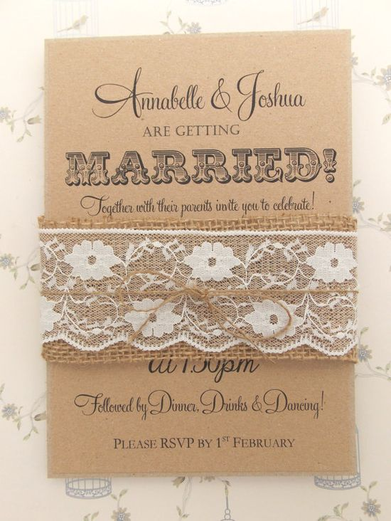 Rustic Wedding Invitation Burlap and Lace on by FromLeoniWithLove, £2.00  I could make these!!