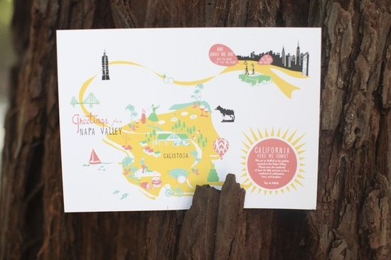 """save the date"" wedding map"