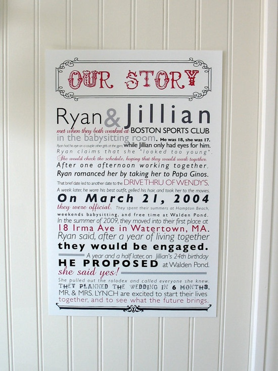Our Story  11x17 Wedding Reception Poster  Unique by BeaconLane.  In love with this.  Perfect to tell our story at the wedding, and an awesome piece of artwork for home!