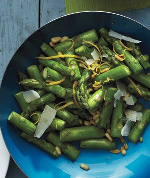 Lemony Asparagus With Pine Nuts and Parmesan.