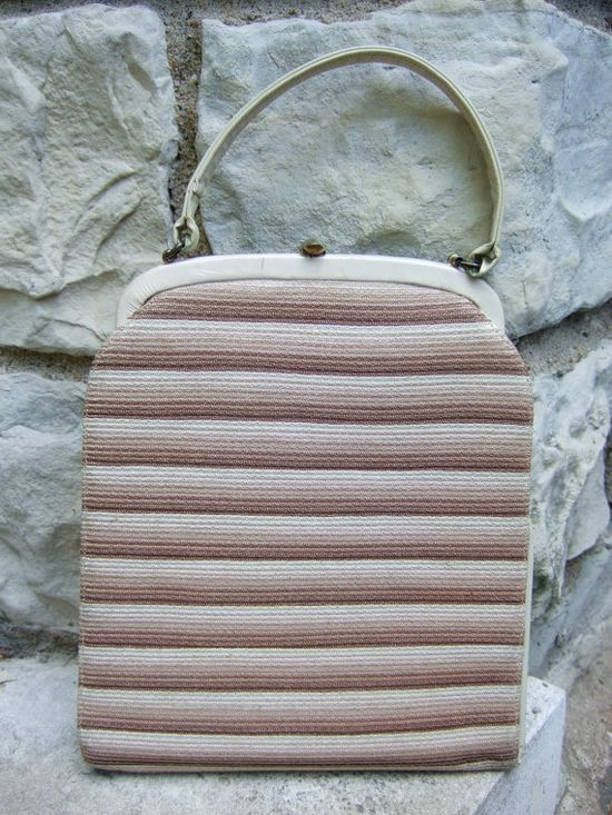 1950s Striped Cloth Vintage Handbag