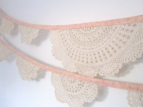 Vintage doily bunting.