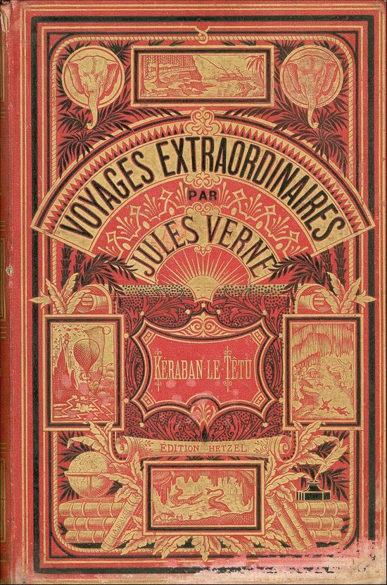 Jules Verne - Book Cover red gold black  compact composition and heaps graphic elements used make the cover delicate