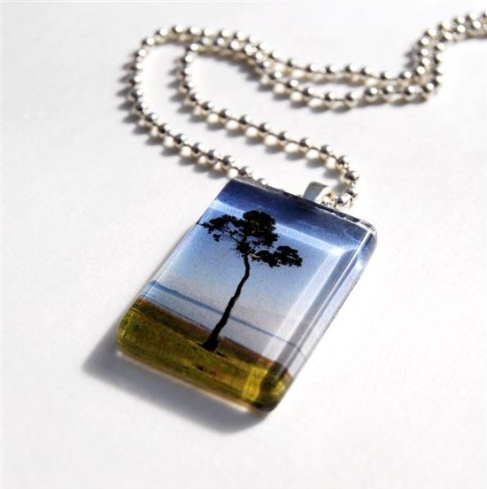 Glass tile tree photo pendant on ball chain by NewCreatioNZ, $14.00