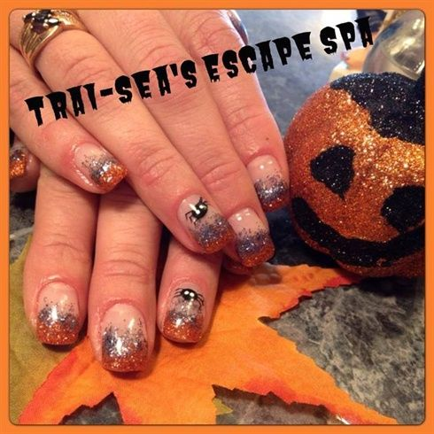 Fall & spiders by TraiSeasEscape from Nail Art Gallery