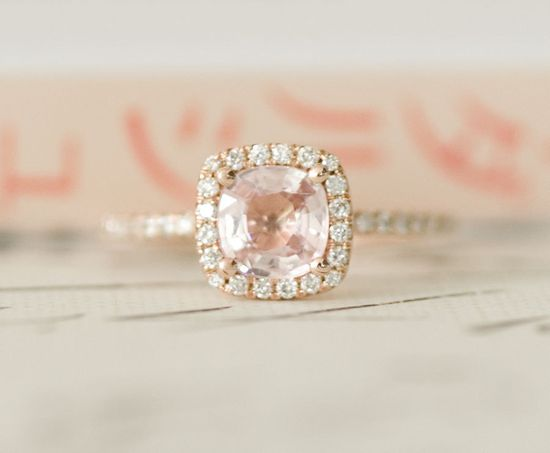 Peach Pink Cushion Sapphire Diamond Halo Engagement Ring 14K Rose Gold