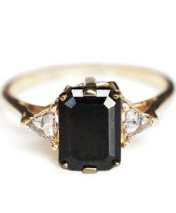 everythingsparklywhite:    Emerald cut black diamond ring.