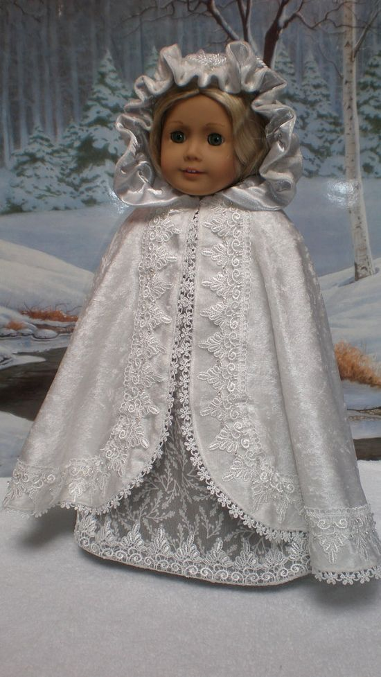 CAROLINE ABBOTT REGENCY - This charming OOAK five piece ensemble includes an elegant soft gray print frock with pearls on all the lace points, matching pantalettes, coordinating white velvet beaded cape that drapes so nicely, beautiful headband and a darling pair of matching slip-on shoes -  by dollupmydoll