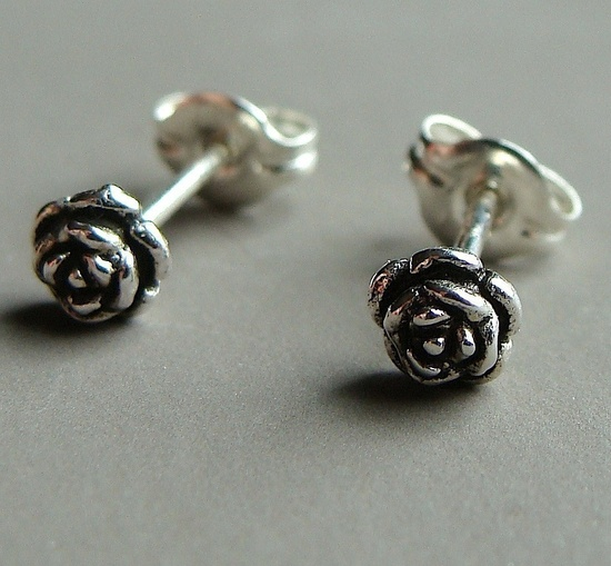 Tiny Rose Flower Stud Post Sterling Silver Earrings. $12.00, via Etsy.