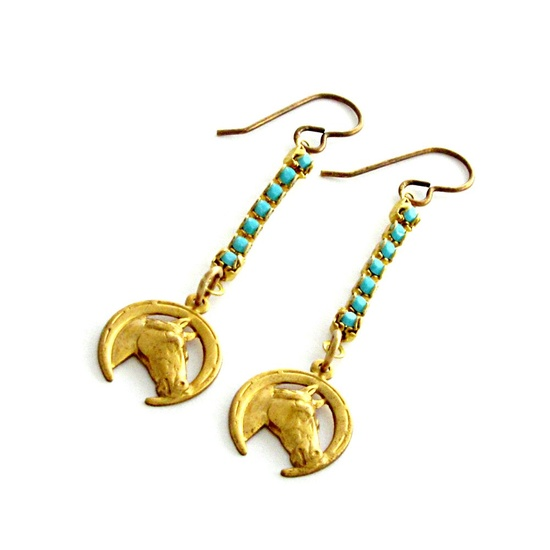Horse Earrings Turquoise Jewelry Southwest by laurenblythedesigns