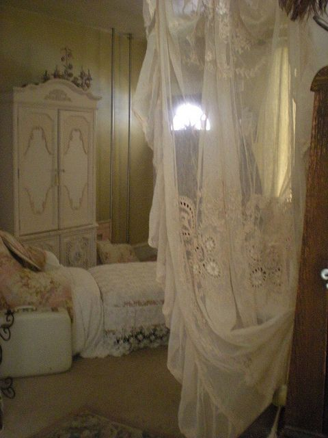 Nice armoire, but I love the drape  ********************************************   (repin) - #shabby #chic #romantic #cottage #home #decor #style - ??