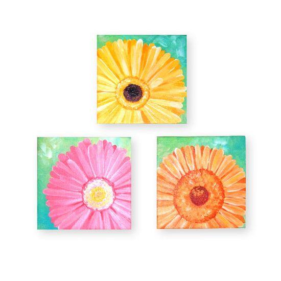 Canvas Paintings DAISY SET of 3 Three 5x5 Acrylic on by nJoyArt, $65.00 #art #decor #floral #daisy #painting