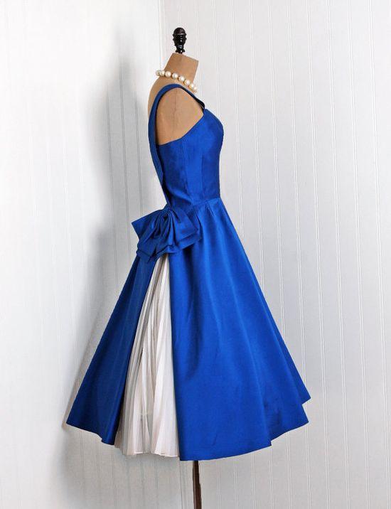 1950s chiffon one-shoulder party dress