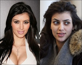 Kim with & without makeup