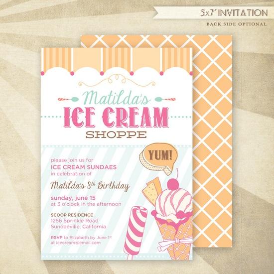 Custom Ice Cream Shoppe Birthday Printable Invitation #HWTM #Etsy #icecream #party