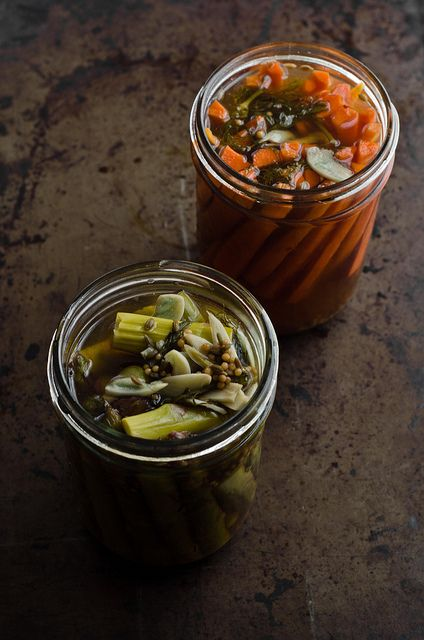 quick asparagus and carrot vinegar pickles by art and lemons, via Flickr