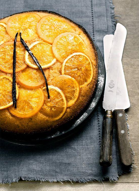 Orange and Vanilla Upside Down Cake #cake #fruit