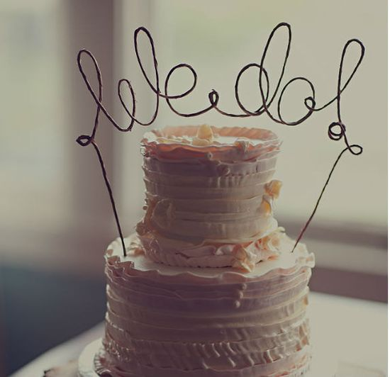 Rustic WE DO Cake Topper Banner - Rustic Wedding, Shabby Chic Wedding, Garden Party. $24.00, via Etsy.