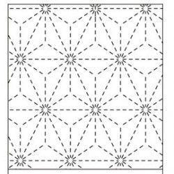 Coupon tissu blanc coton sashiko motifs asanoha étoile