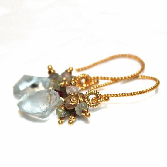 Rough Aquamarine Earrings Crystal Earrings Blue by FizzCandy #aquamarine #earrings #crystal #jewelry #fashion #fizzcandy