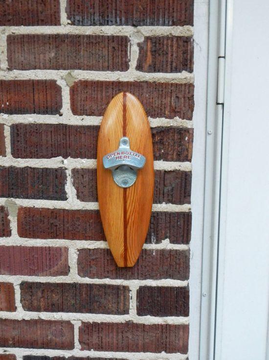 Surfboard bottle opener, wall mounted, Longboard handmade from Heart Pine & Mahogany, StarrX opener
