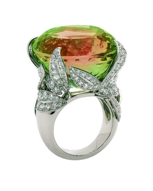 Van Cleef & Arpels - Arbre aux Songes ring. Midsummer Night's Dream. White gold, diamonds and tourmaline.