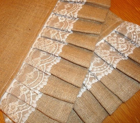 Country Girl Line...Burlap Ruffles & Lace Table Runner