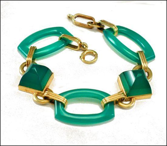 Art Deco Bracelet 14K Gold Chrysoprase Ring