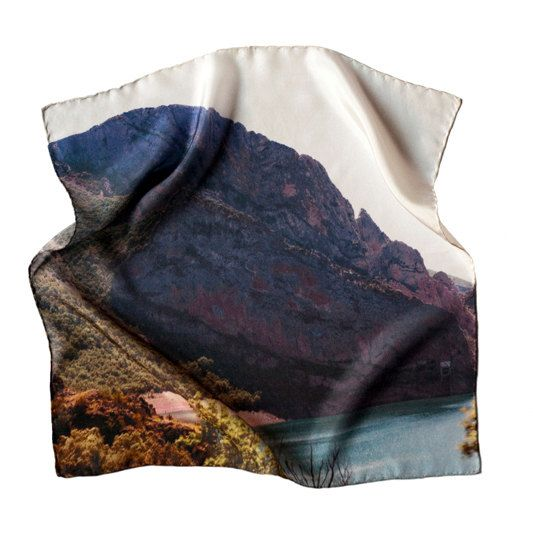 Sierra 2 - 43x43 Silk scarf - Digital printed - Hand stitched via Etsy