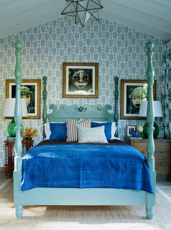 Turquoise and cobalt blue create a statement in this master bedroom